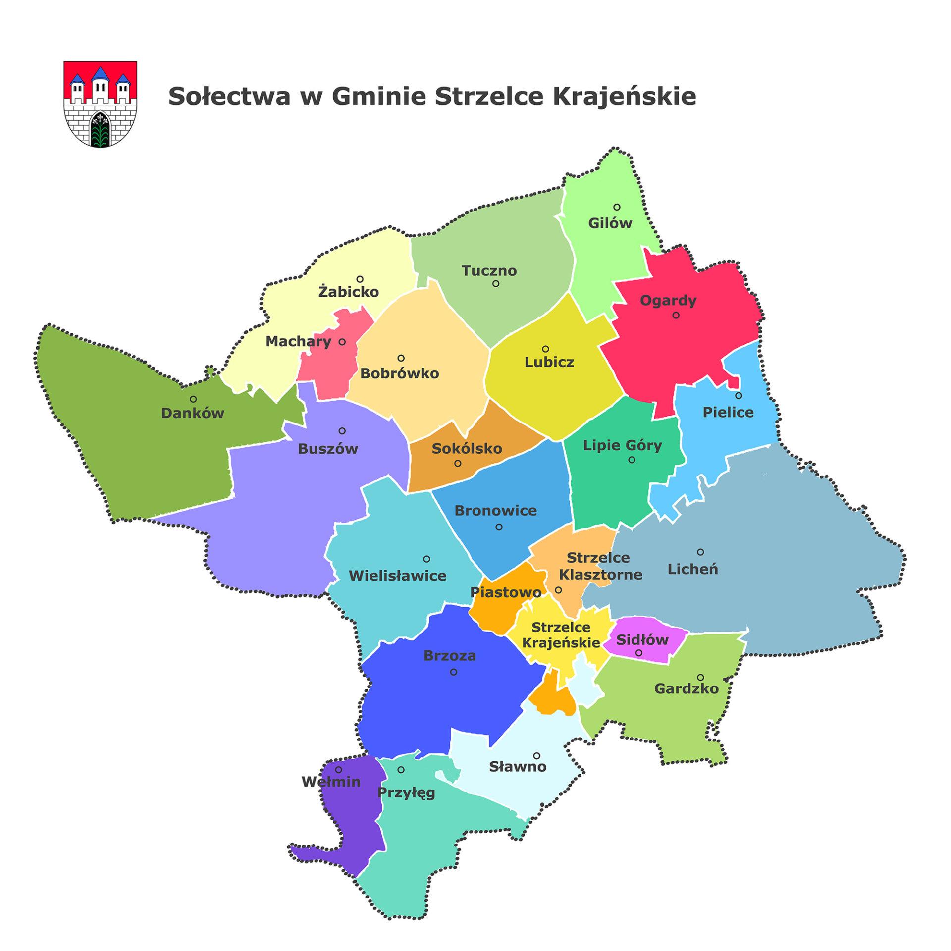 Mapa gminy z podziałem na sołectwa