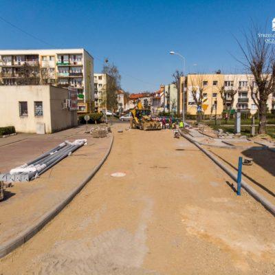 ul. Saperów w trakcie prac remontowych