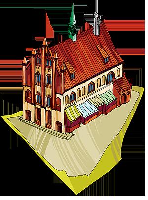 Rysunek przedstawiający średniowieczny ratusz