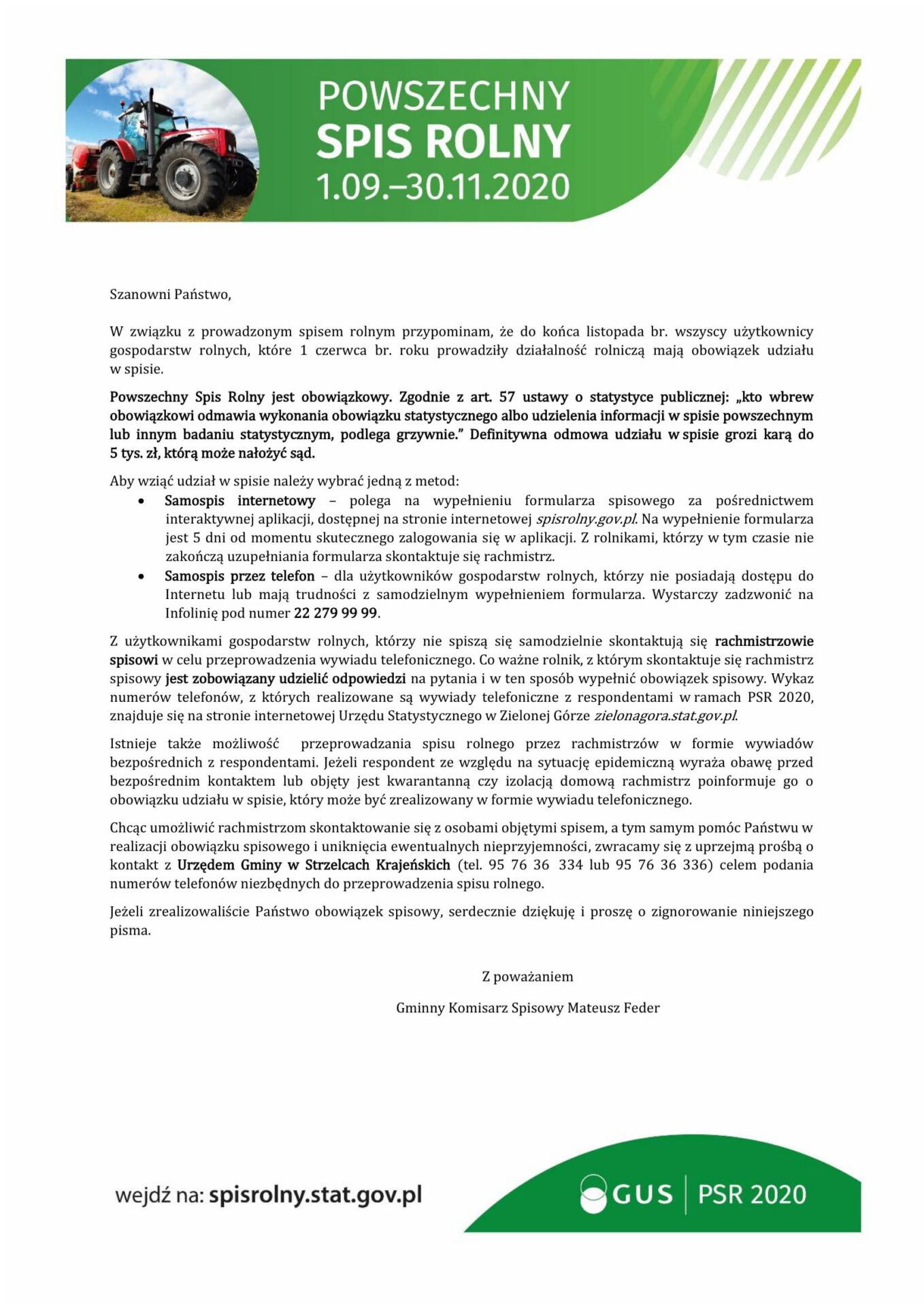 List do rolników w sprawie PSR 2020