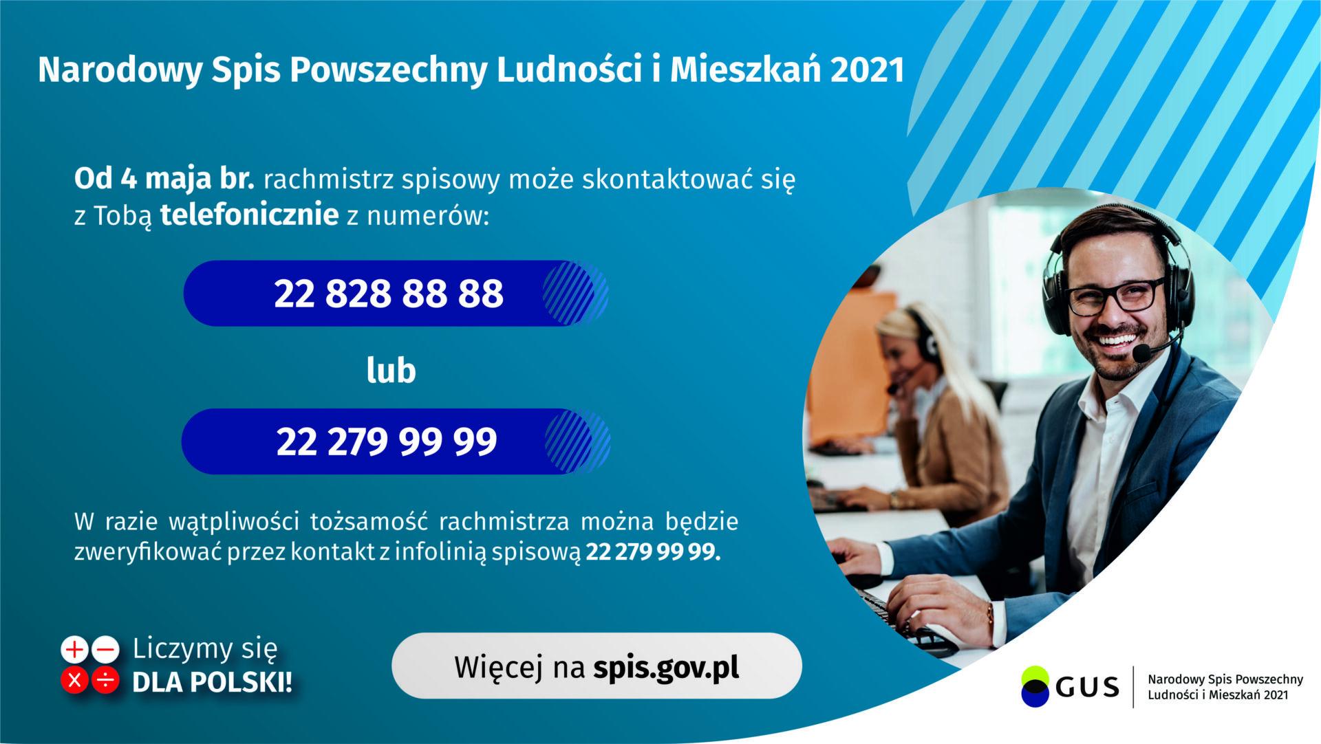 Plakat z numerami z jakich rachmistrzowie będą kontaktować się z mieszkańcami 22 828 88 88 oraz 22 279 99 99