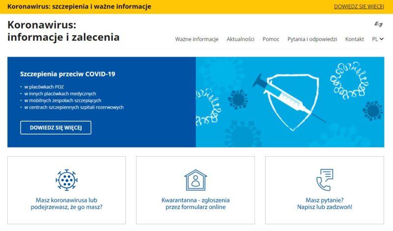 Zrzut ekranu strony www.gov.pl